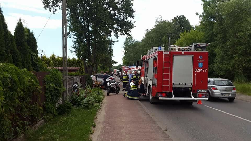 42. 14.06.2018 – Wypadek z udziałem samochodu osobowego i motocyklu – Stare Babice ul. Sikorskiego