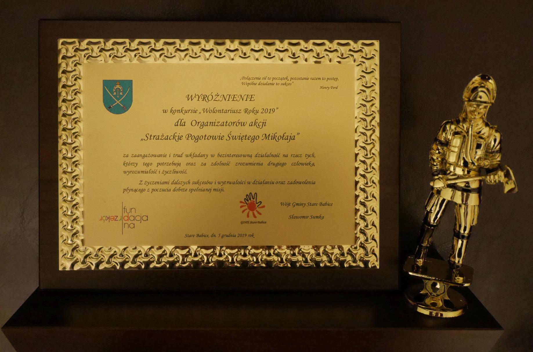 Wyróżnienie dla naszej akcji Strażackie Pogotowie św. Mikołaja