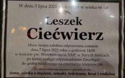 zmarł dh Leszek Ciećwierz, były Prezes OSP